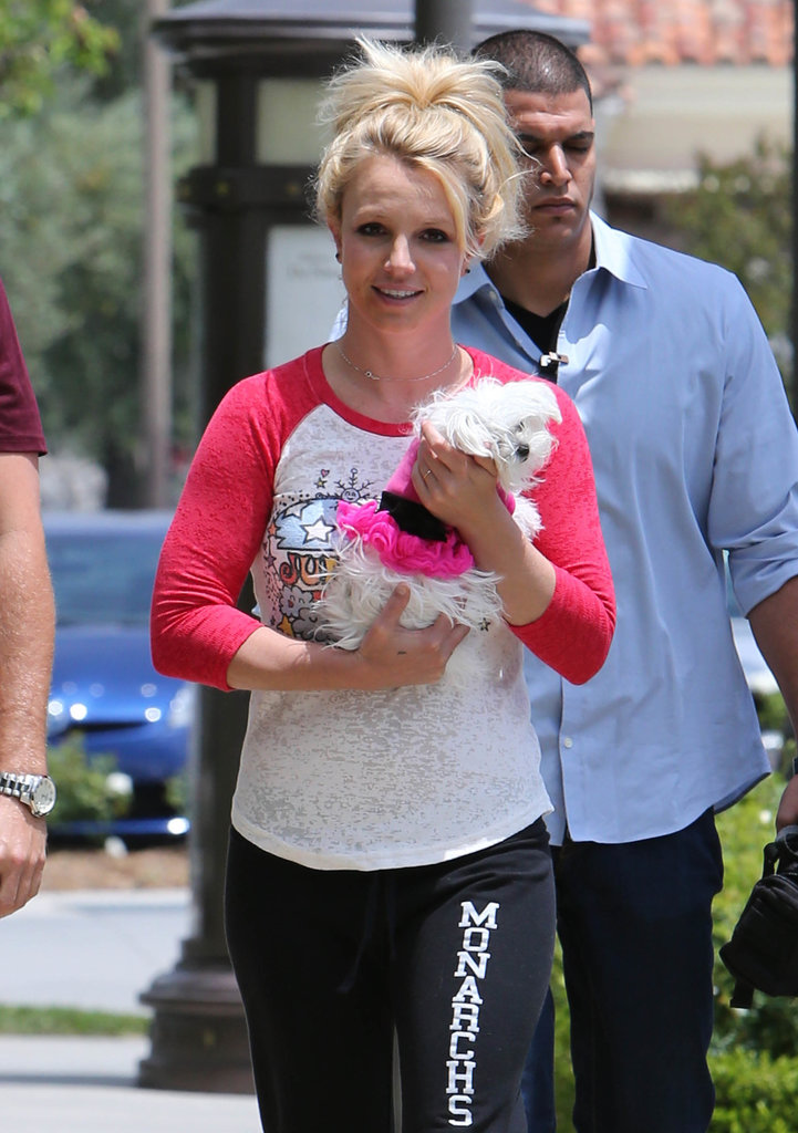 Britney Spears had her fluffy white dog on hand while in LA.