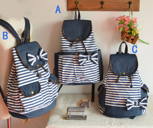 Fashion Navy Bow Striped Backpacks
