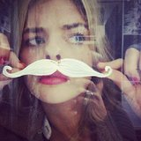 Samara Weaving tried a moustache on for size. Source: Instagram user samweaving