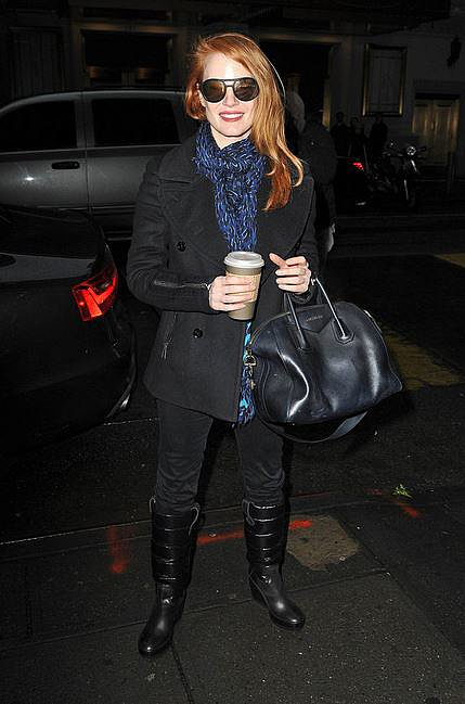 Coffee in one hand, Givenchy tote in the other; Jessica Chastain knows how to stay warm in style!