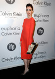 Paz Vega wore red on the black carpet.