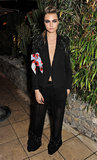 Cara Delevingne chose an embellished tuxedo for the Calvin Klein-hosted Women in Film party in Cannes.
