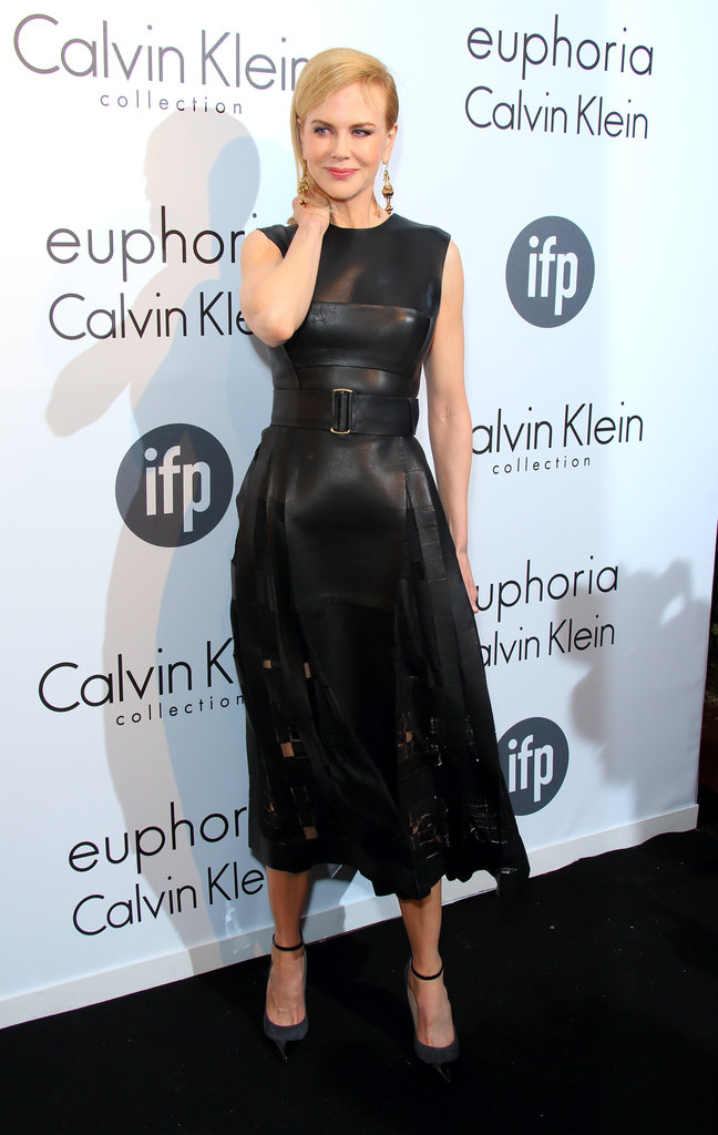 Nicole picked a calf-length Calvin Klein leather dress with cutout details for a stop at the IFP and Calvin Klein party.
