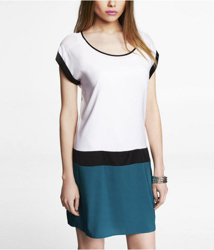 Short Sleeve Color Block Shift Dress