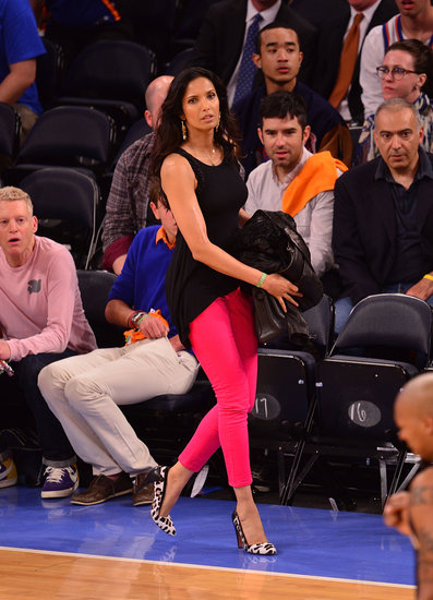 On her way to her seat at the New York Knicks vs. Indiana Pacers playoff game in May, Padma Lakshmi showed off bright pink jeans and leopard pumps.
