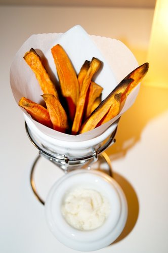 "Orange & Pumpkin Pie Spice Sweet Potato ""Fries"" (OILFREE)"