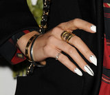 Vanessa Hudgens accented a white manicure with tiny stud details. To make this look more bridal-appropriate, you can add crystal details instead.