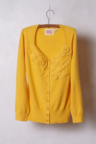 Pleated Rosebud Cardigan