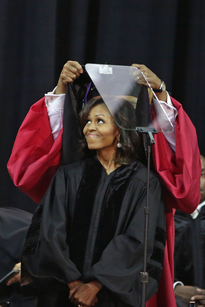 The first lady received an honorary doctorate of laws degree during the school's graduation ceremony.