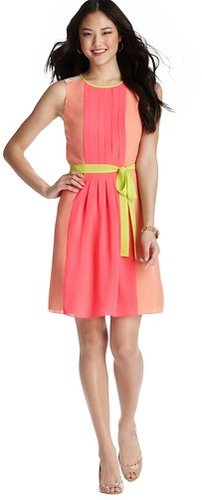 Neon Colorblocked Pleated Dress