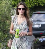 Alessandra Ambrosio's marbled sunglasses made her face stand out during a day out in Pacific Palisades. Score a similar Dolce & Gabbana pair here ($195).
