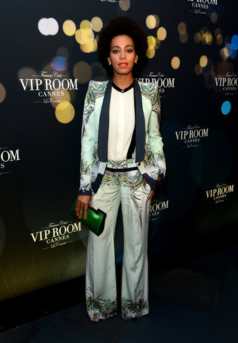 Solange Knowles worked the menswear vibe in a printed Roberto Cavalli suit at the Belvedere's party.