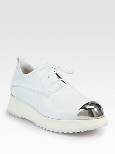 Costume National Leather Metal-Detail Platform Oxfords