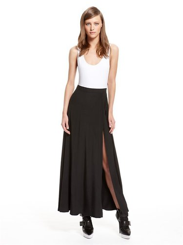 Runway Stretch Silk Color Blocked Scoopneck Tank Maxi Dress with Spandex Bodysuit