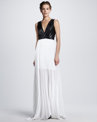 Alice + Olivia Luna Leather-Top Maxi Dress