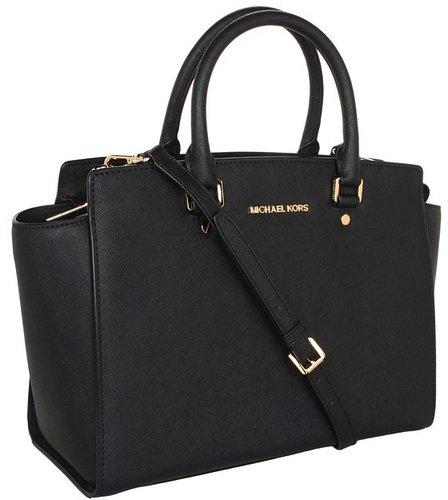MICHAEL Michael Kors - Selma Large TZ Satchel (Black) - Bags and Luggage