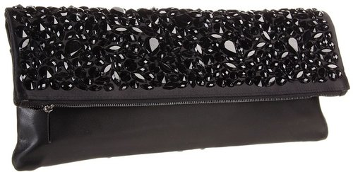 BCBGMAXAZRIA - Rihanna Crystal Foldover Clutch (Black) - Bags and Luggage