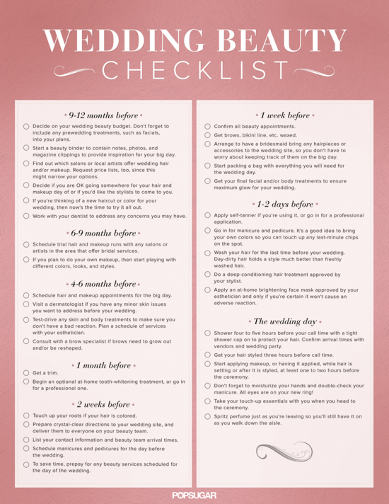 Wedding Hair and Makeup Checklist | Printable
