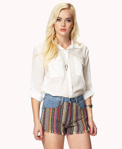 FOREVER 21 Flap Pocket Woven Shirt