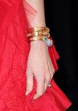 Isla Fisher wore a diamond-encrusted wraparound bracelet by Bulgari.