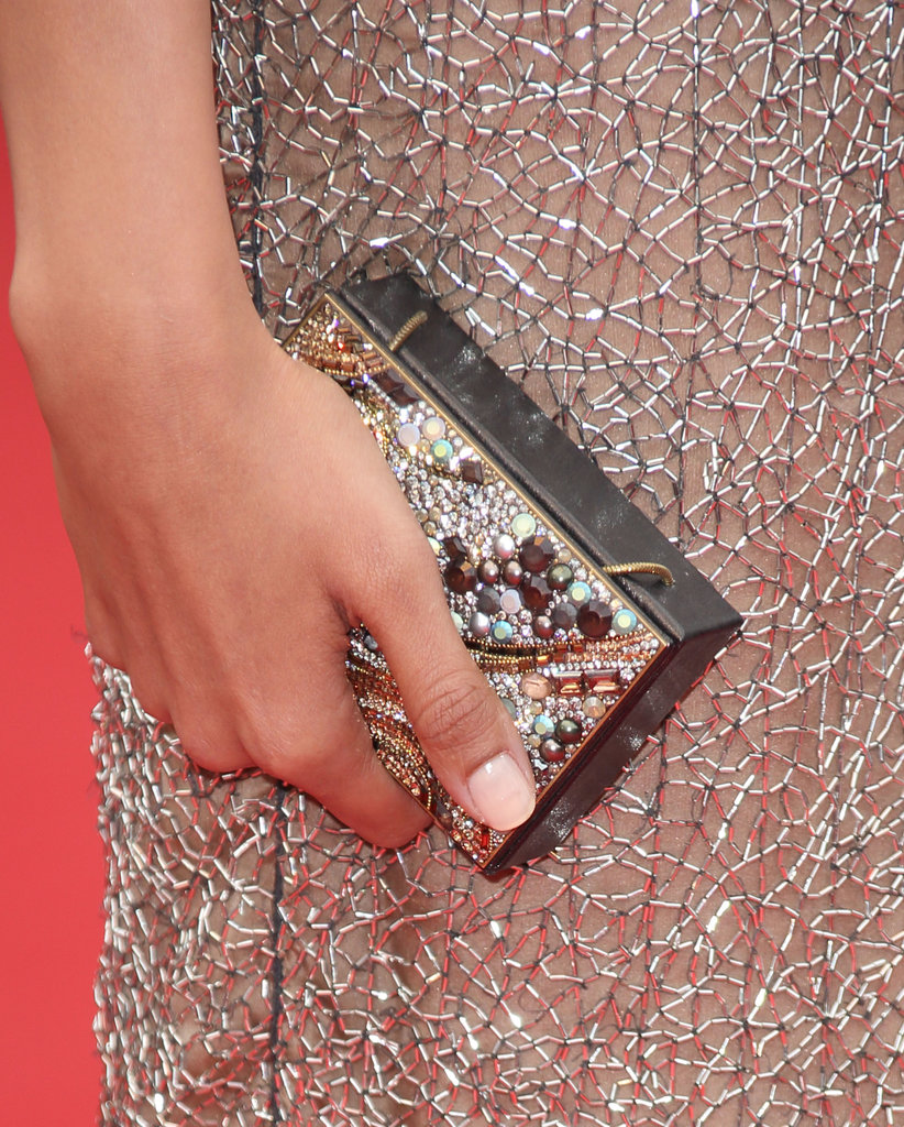 Freida Pinto carried a pearl-and-Swarovski-crystal clutch.