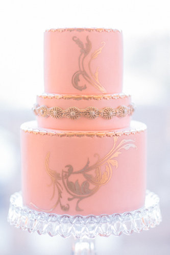 You can never go wrong when pink meets gold, and this stunning cake is one perfect example of that.  Photo by Propel Workshops via Style Me Pretty