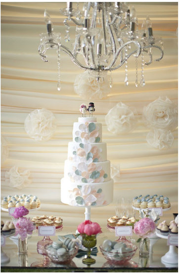 The soft colors and design of this dreamy cake look like a mix between balloons and flower petals.  Photo by Gabriel Ryan Photographers  via 100 Layer Cake