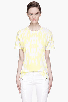PIERRE BALMAIN Yellow Ikat Print T-shirt