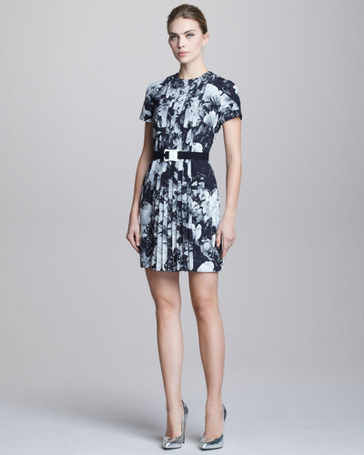 Christopher Kane Printed Pleat-Front Short-Sleeve Dress