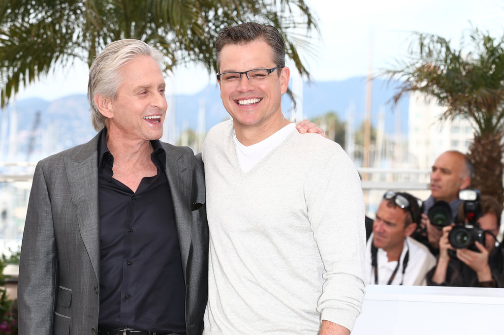 Matt Damon chatted with Michael Douglas in Cannes.