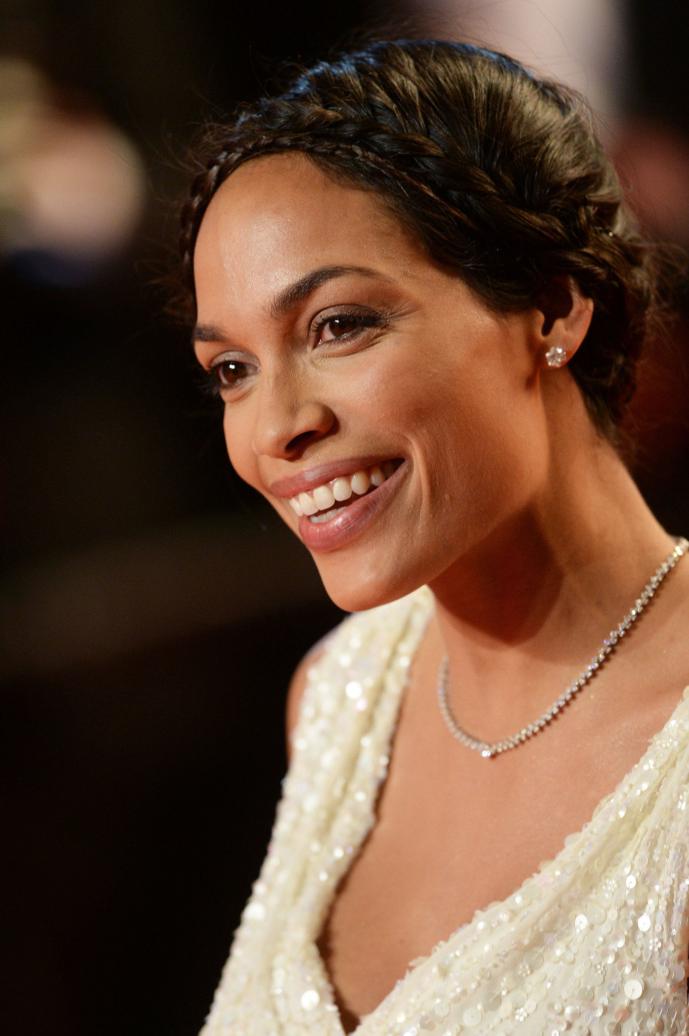 For her turn on the red carpet at the premiere of As I Lay Dying at Cannes, Rosario Dawson stunned in a delicate crown of braids. This style would be perfect tucked under a delicate veil.