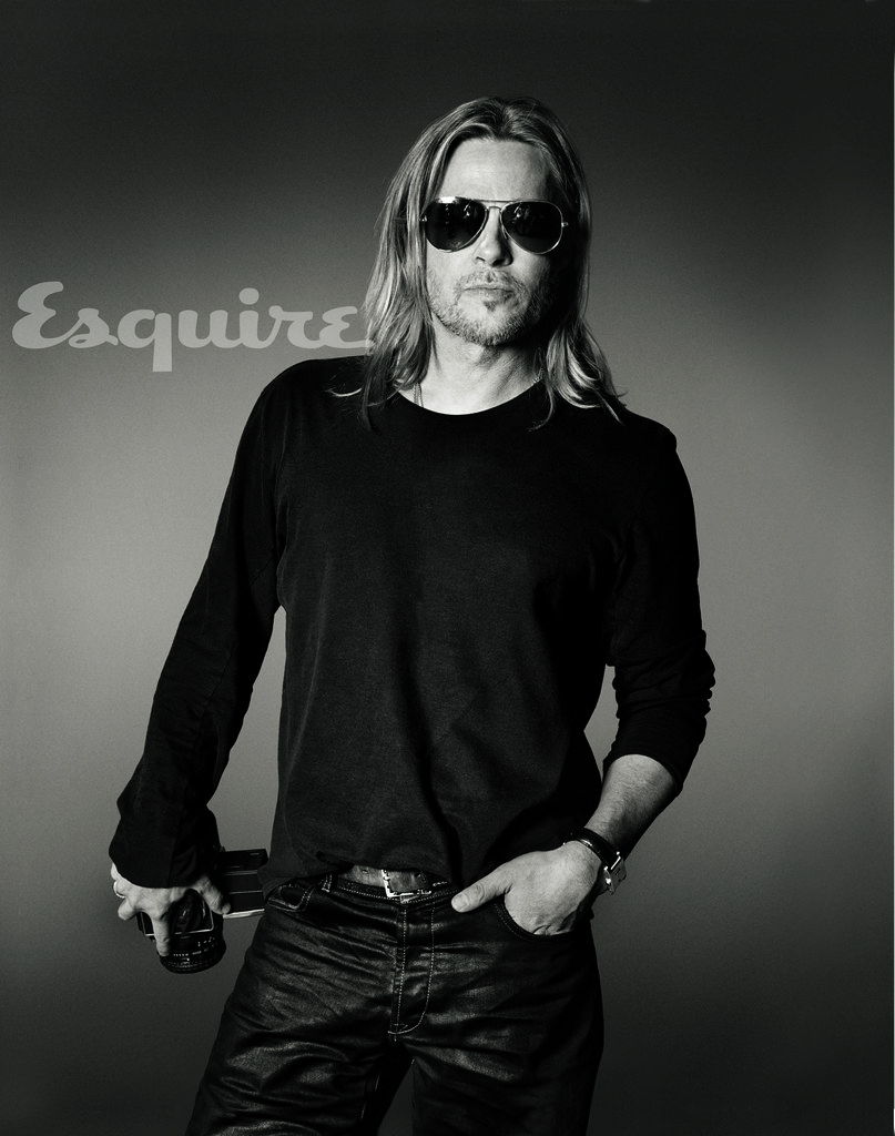 Brad Pitt donned his signature aviators to pose for a spread in Esquire's 2013 June/July issue. Source: Max Vadukul for Esquire