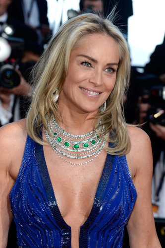Sharon Stone showed off her tan with a natural makeup palette while walking the Behind the Candelabra premiere at the Cannes Film Festival.