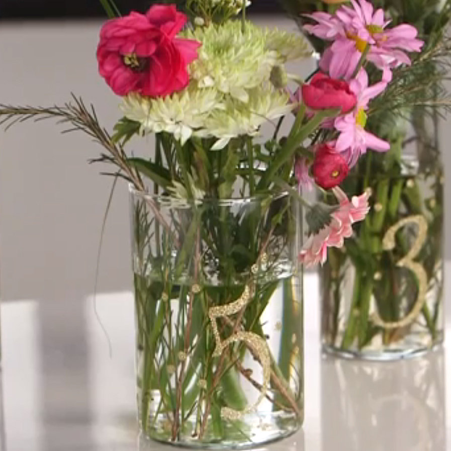 DIY Glitter Table Numbers Spice Up Floral Centerpieces
