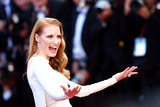 Jessica Chastain welcomed the crowd and photographers at the Cleopatra premiere on Tuesday in Cannes.