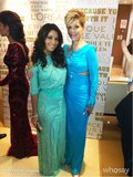 Eva Longoria and Jane Fonda coordinated beautifully at the L'Oréal Paris event, both wearing bright Atelier Versace gowns. Source: Eva Longoria on WhoSay