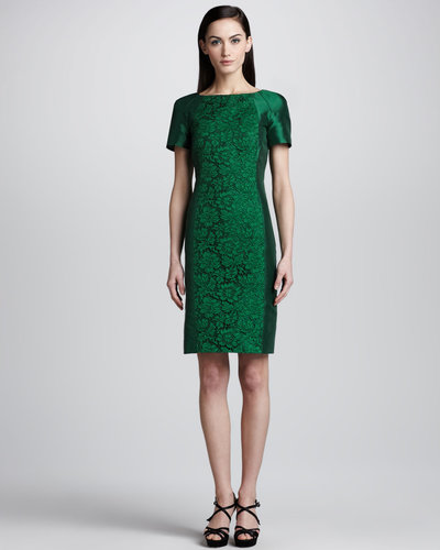 Valentino Floral Lace-Front Silk Dress, Emerald