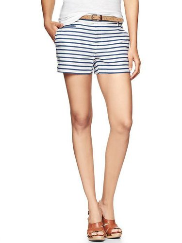 Striped welt pocket shorts