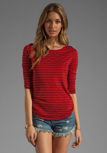 Whetherly Griffin Sailor Stripe Tee in Red/Navy