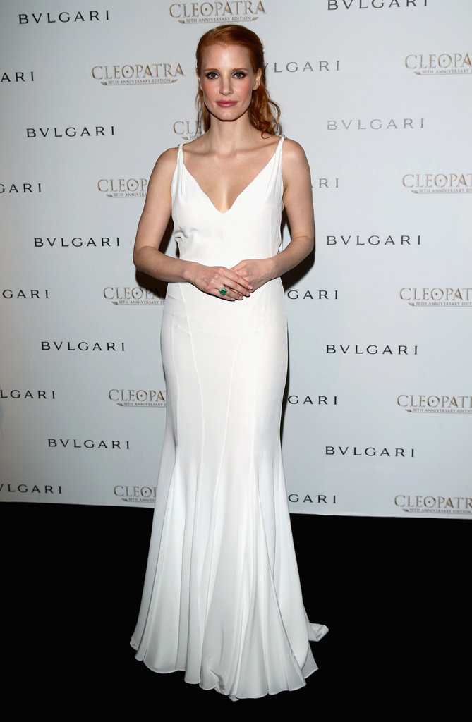 Jessica Chastain perfected effortless glamour in this stunning white GIvenchy by Riccardo Tischi gown at the Bulgari cocktail party for Cleopatra.