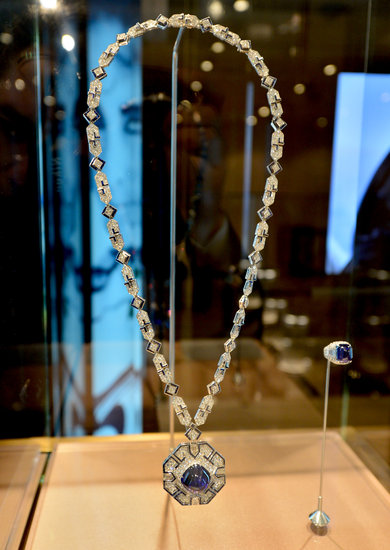 Bulgari celebrated Elizabeth Taylor's jewelry collection with a curated display inside the jewelry house's Beverly Hills store in February. Here is the sapphire-and-diamond sautoir — with matching ring — that Richard Burton gave to Taylor on her 40th birthday, the same one Jessica Chastain wore to the Tuesday screening of Cleopatra in Cannes.