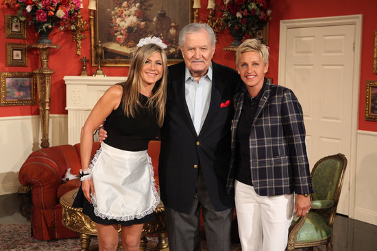 Jennifer Aniston's dad, John Aniston, made an appearance on The Ellen DeGeneres Show with his daughter. Source: Michael Rozman/Warner Bros.