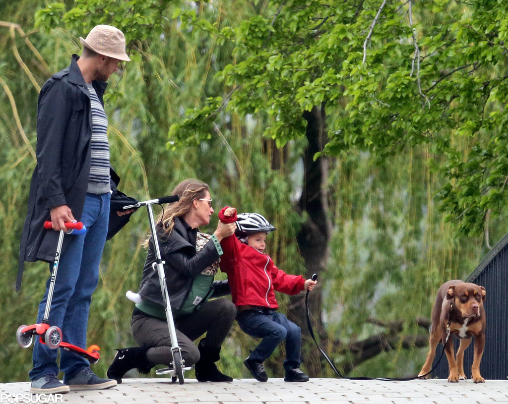 Gisele Bündchen and Tom Brady took Ben, Vivian, and their dog out in Boston.