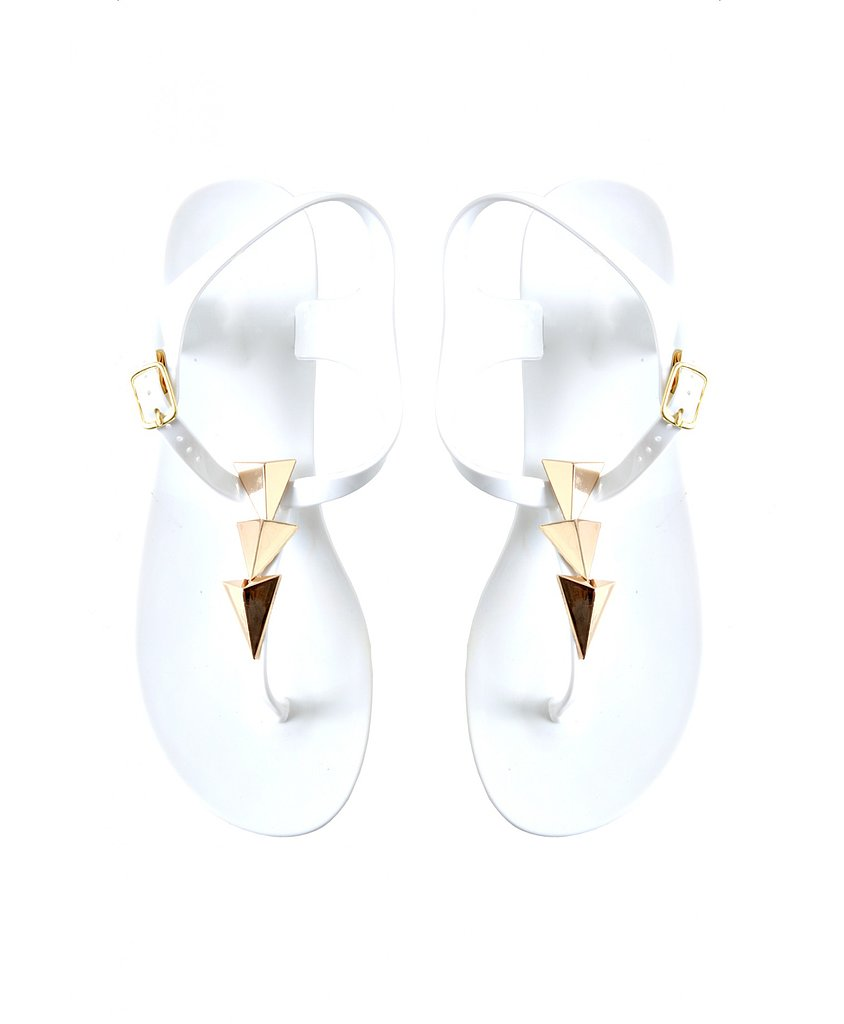 Flashy gold triangles give Missguided's simple white thong ($26) a fierce feeling.