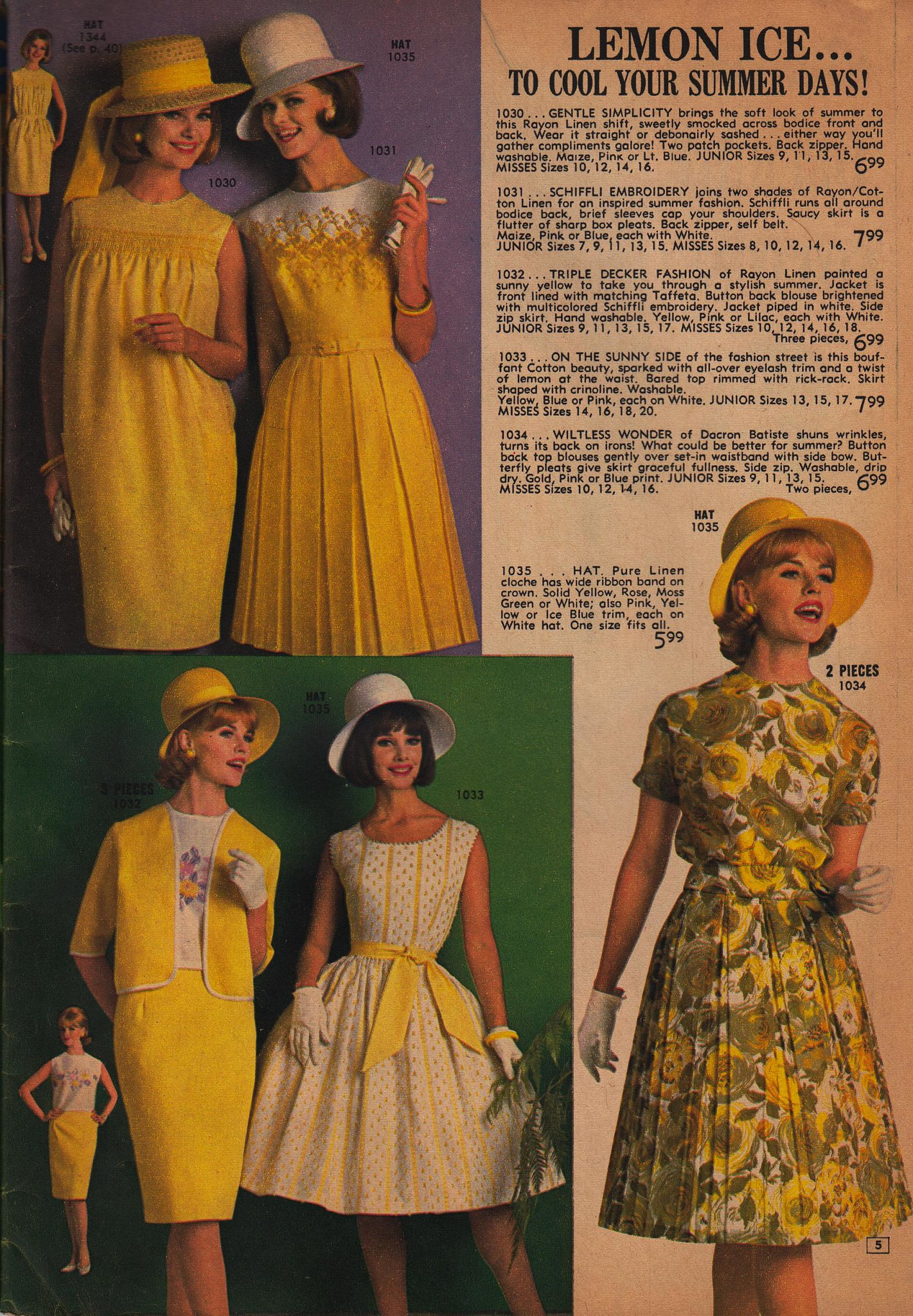 Cool off in lemon-yellow frocks.