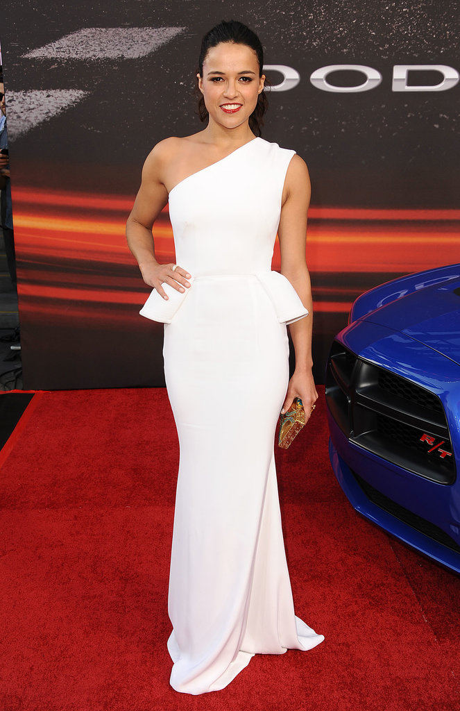 Michelle Rodriguez brought her style A-game to the Fast & Furious 6 LA premiere in a white one-shouldered peplum gown.