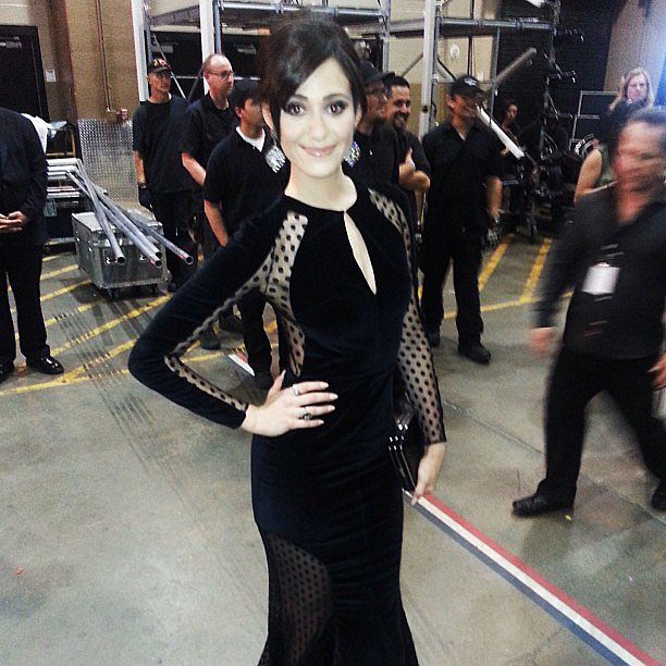 Emmy Rossum looked drop-dead gorgeous in a black Zuhair Murad gown at the Billboard Music Awards. Source: Instagram user emmyrossum