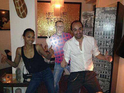 Zoe Saldana and designer Francesco Scognamiglio did their best Terry Richardson impressions.  Source: Twitter user FRASCOGNAMIGLIO