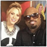 Shakira snapped a pic with Cee-Lo Green on the set of The Voice. Source: Twitter user shakira