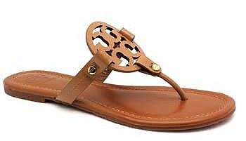 """Tory Burch """"Miller"""" Tan Patent Leather Thong"""